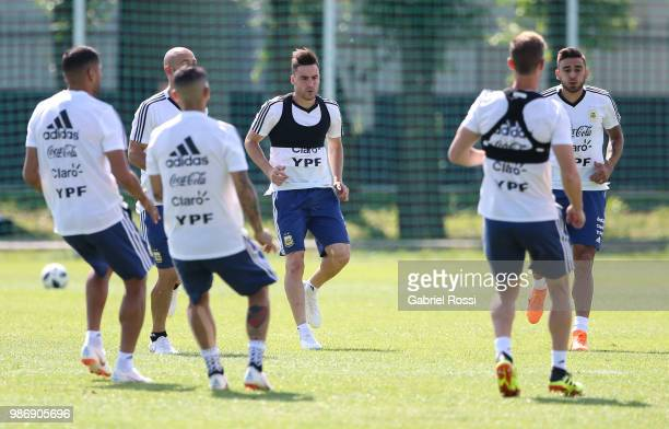 Nicolas Tagliafico of Argentina and teammates warm up during a training session at Stadium of Syroyezhkin sports school on June 28 2018 in Bronnitsy...