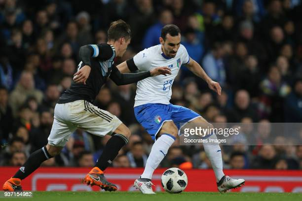 Nicolas Tagliafico of Argentina Davide Zappacosta of Italy during the International Friendly match between Italy v Argentina at the Etihad Stadium on...