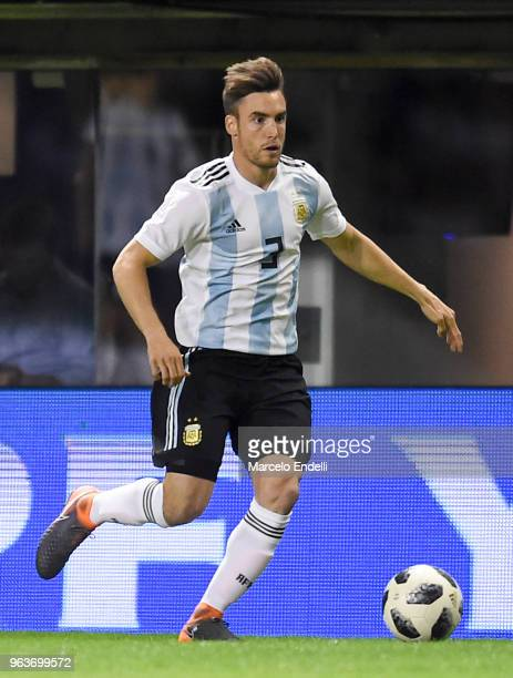 Nicolas Tagliafico of Argentina drives the ball during an international friendly match between Argentina and Haiti at Alberto J Armando Stadium on...