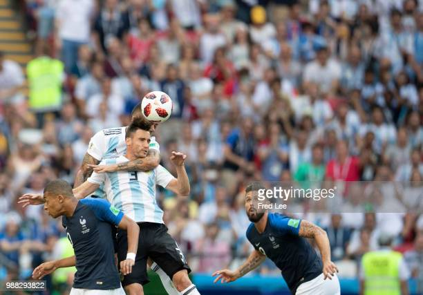 Nicolas Tagliafico of Argentina in action during the 2018 FIFA World Cup Russia Round of 16 match between France and Argentina at Kazan Arena on June...