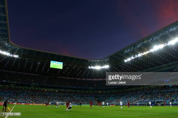 Nicolas Tagliafico of Argentina kicks the ball during the Copa America Brazil 2019 group B match between Qatar and Argentina at Arena do Gremio on...