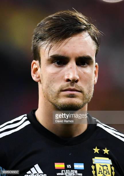 Nicolas Tagliafico of Argentina looks on during an International friendly match between Spain and Argentina at the Wanda Metropolitano stadium on...