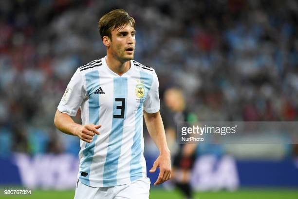 Nicolas Tagliafico of Argentina looks on during the FIFA World Cup Group D match between Argentina and Croatia at Nizhny Novogorod Stadium in Nizhny...