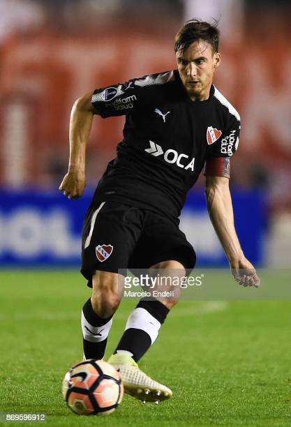 Nicolas Tagliafico of Independiente kicks the ball during a second leg match between Independiente and Nacional as part of the quarter finals of Copa...