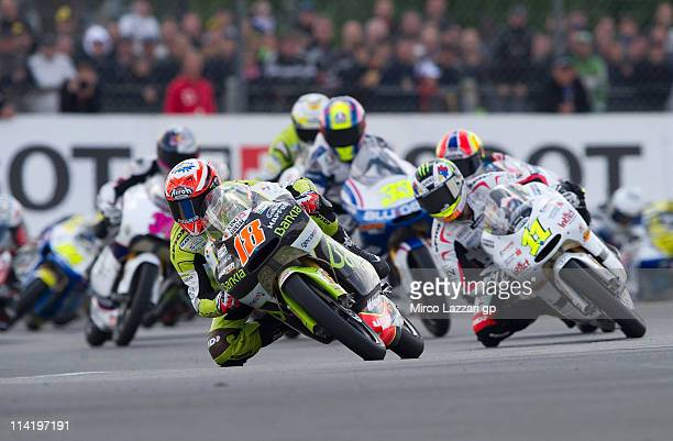 Nicolas Terol of Spain and Aspar Team leads the field during the 125 cc race of MotoGP of France in Le Mans Circuit on May 15 2011 in Le Mans France