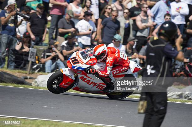 Nicolas Terol of Spain and Aspar Team Moto2 rounds the bend during the Moto2 race ahead of the Australian MotoGP which is round 16 of the MotoGP...