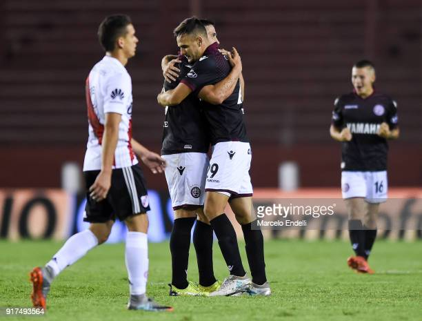Nicolas Thaller of Lanus celebrates with teammates after a match between Lanus and River Plate as part of the Superliga 2017/18 at Ciudad de Lanus...