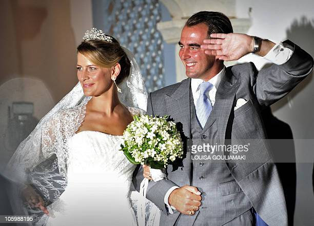 Nicolas, the second son of Greece's former king Constantine and Tatiana Blatnik leave the Orthodox Church of Saint Nicolas after their wedding...