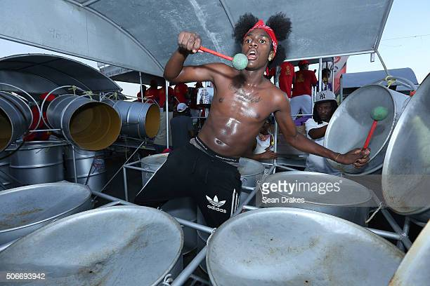 Nicolas Thomas rehearses with NGC Steel Xplosion Steel Orchestra at the semi-finals of Panorama in the Queen's Park Savannah during Carnival in Port...