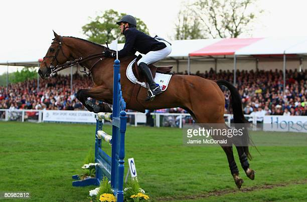 Nicolas Touzaint of France rides Hildago De L'ile to win the Badminton Horse Trials after the Show Jumping on the fourth day of the Badminton Horse...