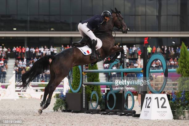 Nicolas Touzaint of Team France riding Absolut Gold competes during the Eventing Jumping Team Final and Individual Qualifier on day ten of the Tokyo...