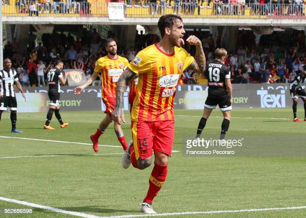 Nicolas Viola of Benevento Calcio celebrates after scoring the 11 goal during the serie A match between Benevento Calcio and Udinese Calcio at Stadio...