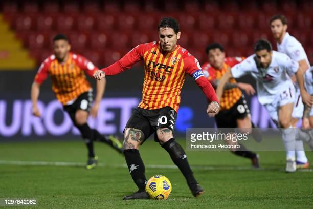 Nicolas Viola of Benevento scores the first goal during the Serie A match between Benevento Calcio and Torino FC at Stadio Ciro Vigorito on January...