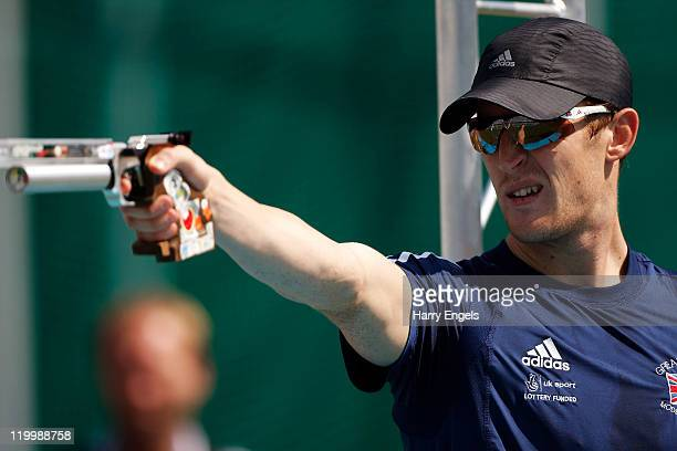Nicolas Woodbridge of Great Britain shoots during the Combined Event during the men's semi final round at the modern pentathlon European...