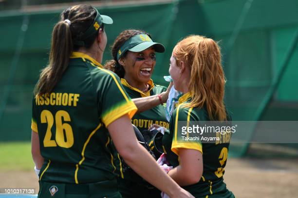 Nicole Alexander of South Africa chat with teammates during the Preliminary Round match between Chinese Taipei and South Africa at Akitsu Stadium on...