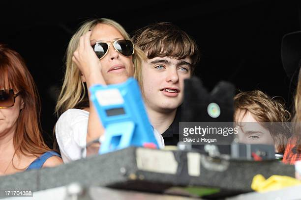 Nicole Appleton and Gene Gallagher watch Beady Eye perform at day 2 of the 2013 Glastonbury Festival at Worthy Farm on June 28 2013 in Glastonbury...