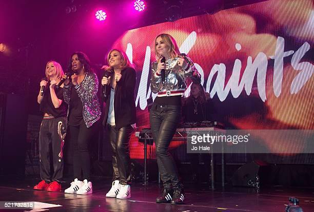Nicole Appleton Shaznay Lewis Melanie Blatt and Natalie Appleton of All Saints perform on stage at GAY Club at Heaven on April 16 2016 in London...