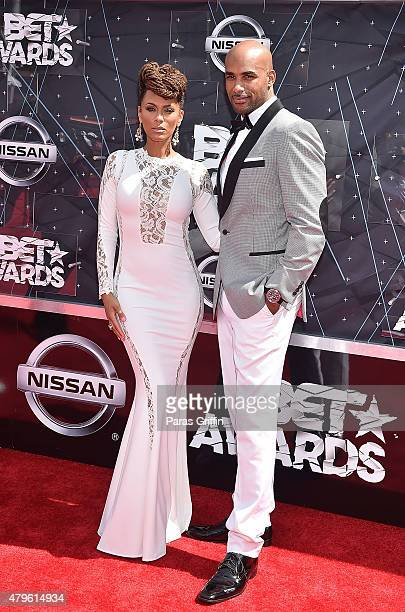 Nicole Ari Parker and Boris Kodjoe attends the 2015 BET Awards at the Microsoft Theater on June 28 2015 in Los Angeles California