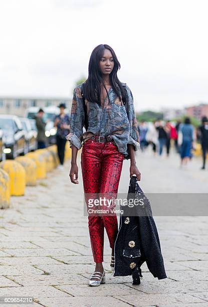 Nicole Atieno is seen outside Gucci during Milan Fashion Week Spring/Summer 2017 on September 21 2016 in Milan Italy