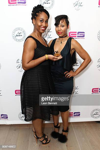 Nicole Austin and La'Myia Good attended the La'Myia Good Hosts 1st Femme Fragrance Launch on February 11 2016 in Hollywood California