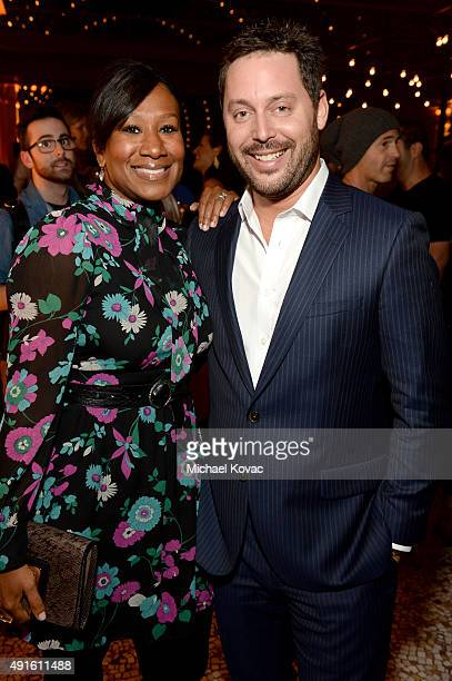 Nicole Avant and CAA agent Michael Kives attend the Vanity Fair New Establishment Summit cocktail party at The Ferry Building on October 6 2015 in...