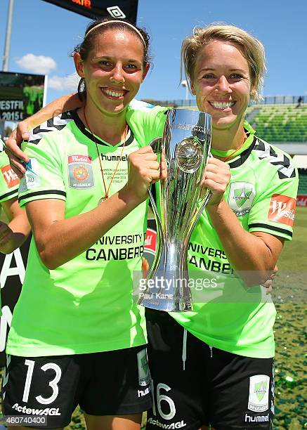 Nicole Begg and Lori Lindsey of Canberra pose with the trophy after winning the WLeague Grand Final match between Perth and Canberra at nib Stadium...