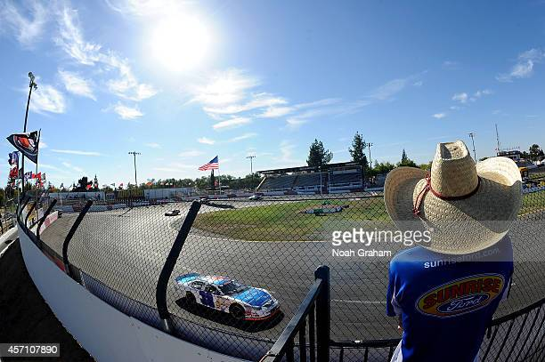Nicole Behar driver of the Custom Welding Fabrication Toyota during the final practice prior to the NASCAR KN Toyota/NAPA Auto Parts 150 at the All...