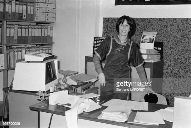 Nicole Benoit directrice financière de l'agence photo Gamma en novembre 1979 à Paris France