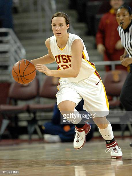 Nicole Berberet of USC dribbles up court during 62-53 loss to California in Pacific-10 Conference women's basketball game at the Galen Center in Los...