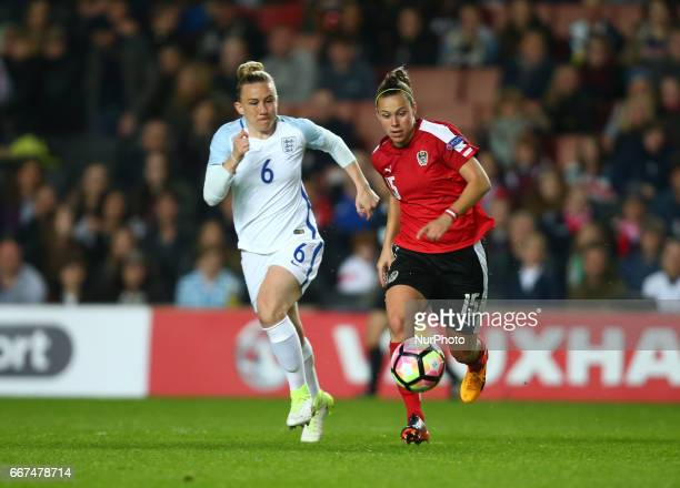 Nicole Billa of Austria Women's holds of England Women's Laura Bassett during International Friendly match between England Women and Austria Women at...
