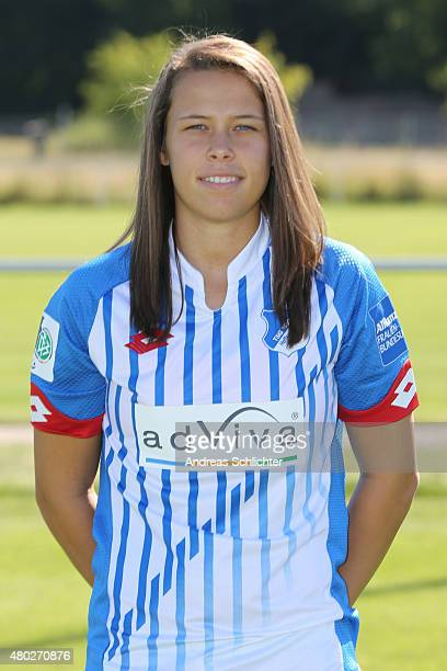 Nicole Billa poses during the team presentation of 1899 Hoffenheim Women's at training ground St LeonRot on July 10 2015 in St LeonRot Germany