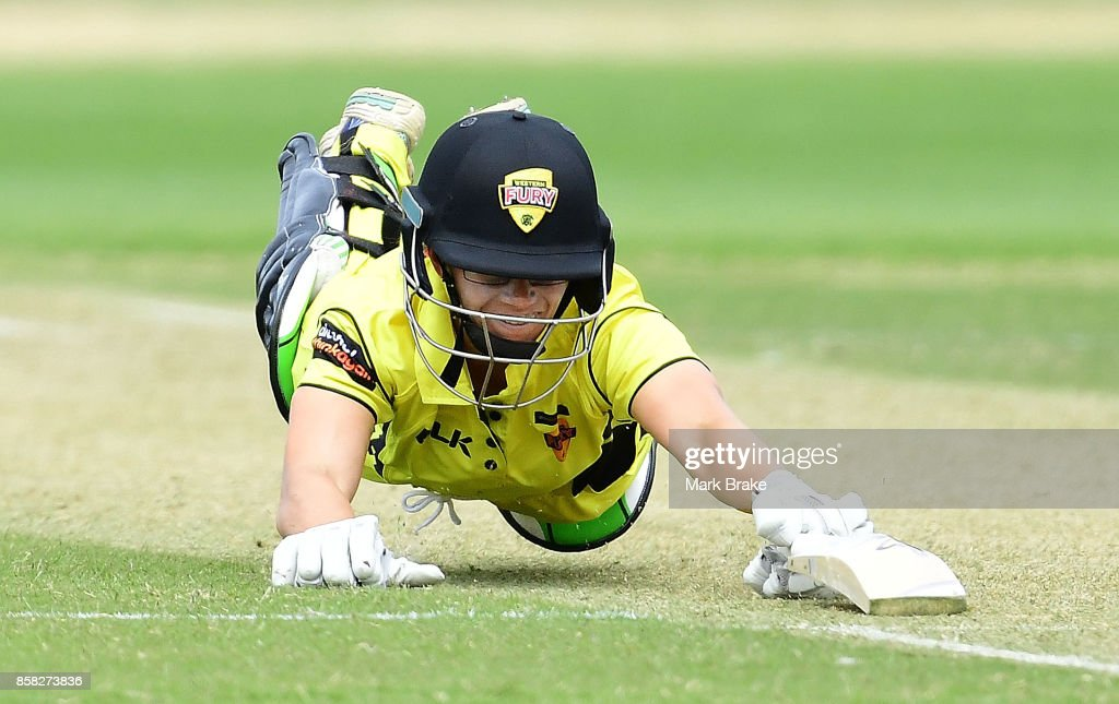 Nicole Bolton dives for the crease during the WNCL match between South Australia and Western Australia at Adelaide Oval No.2 on October 6, 2017 in Adelaide, Australia.