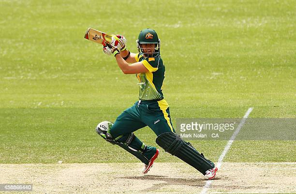 Nicole Bolton of Australia bats during game two of the women's international one day series between Australia and the West Indies at Hurstville Oval...