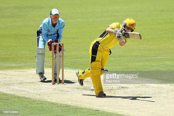 Nicole Bolton of the Fury bats during the women's Twenty20 final match between the NSW Breakers and the Western Australia Fury at WACA on January 19...