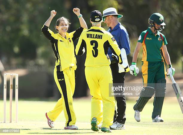 Nicole Bolton of the Fury celebrates getting a wicket during the WNCL match between Tasmania and Western Australia at Park 25 on November 21 2015 in...