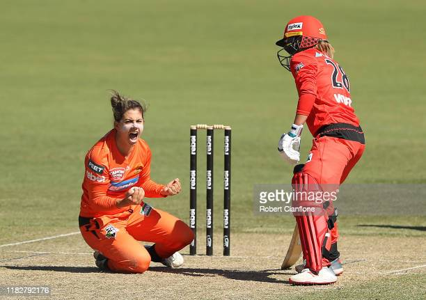 Nicole Bolton of the Perth Scorchers celebrates taking a catch off her own bowling to dismiss Tammy Beaumont of the Renegades during the Women's Big...