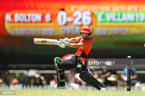 Nicole Bolton of the Scorchers bats during the Women's Big Bash League match between the Sydney Sixers and the Perth Scorchers at Lilac Hill on...