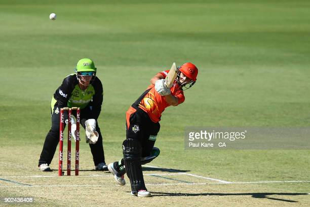 Nicole Bolton of the Scorchers bats during the Women's Big Bash League match between the Perth Scorchers and the Sydney Thunder at WACA on January 8...