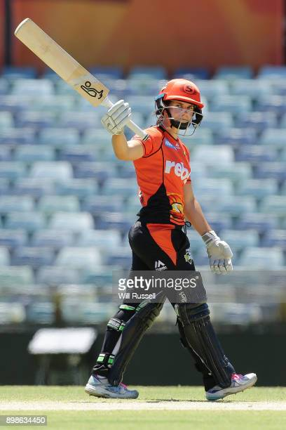Nicole Bolton of the Scorchers celebrates after scoring a halfcentury during the Women's Big Bash League match between the Perth Scorchers and the...