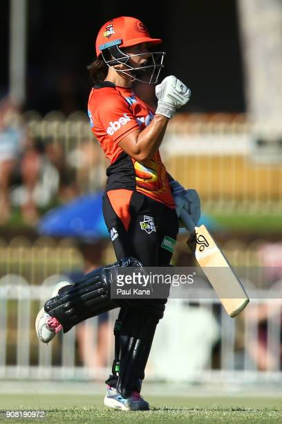 Nicole Bolton of the Scorchers celebrates winning the Women's Big Bash League match between the Hobart Hurricanes and the Perth Scorchers atLilac...