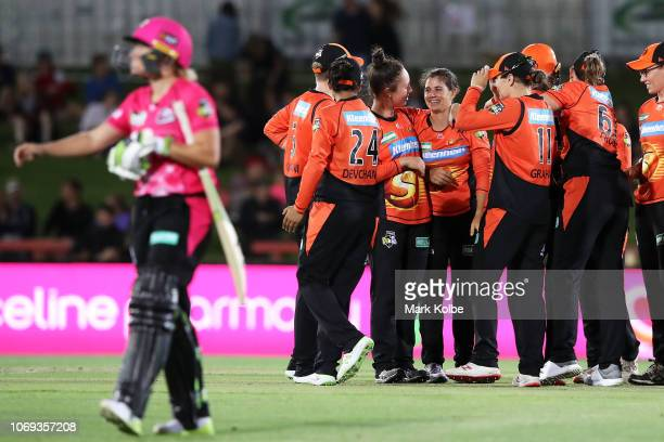 Nicole Bolton of the Scorchers celebrates with her team after taking the wicket of Alyssa Healy of the Sydney Sixers during the Women's Big Bash...