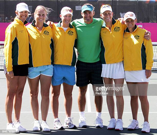 Nicole Bradtke Jelena Dokic Samantha Stosur David Taylor Rennae Stubbs and Casey Dellacqua pose fafter winning the tournament on day four of the Fed...