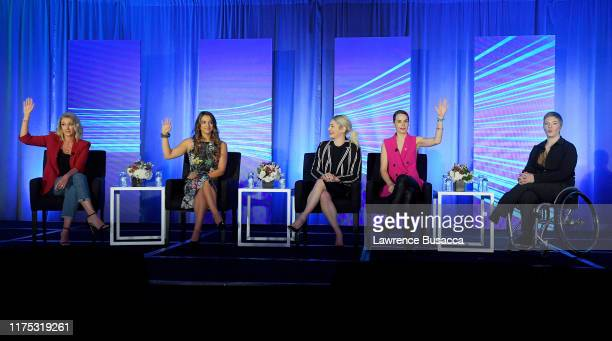Nicole Briscoe Victoria Arlen Sarah Klein Eglantina Zingg and Laurel Lawson speak onstage at WICT Leadership Conference And Touchstones Luncheon at...