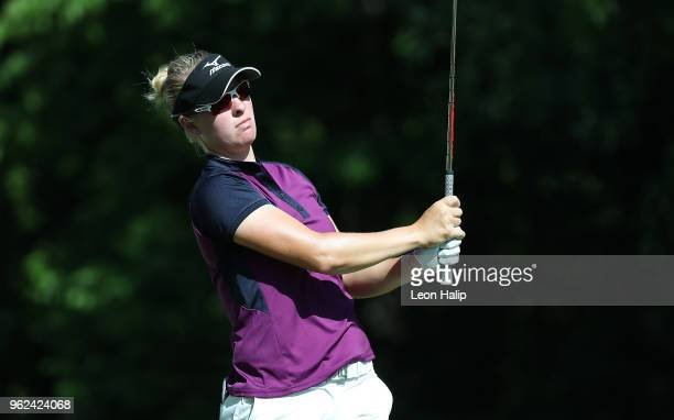 Nicole Broch Larsen from Denmark watches her tee shot on the 16th hole during round two of the LPGA Volvik Championship at Travis Pointe County Club...