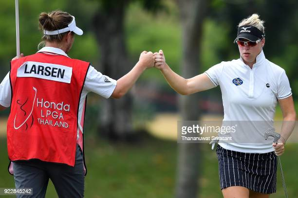 Nicole Broch Larsen of Denmark and her caddy celebrates during the Honda LPGA Thailand at Siam Country Club on February 22 2018 in Chonburi Thailand