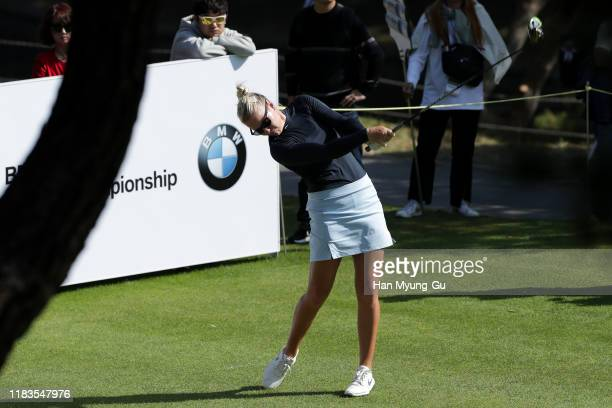 Nicole Broch Larsen of Denmark drives from a tee on the seventh hole during Round 3 of 2019 BMW Ladies Championship at LPGA International Busan on...
