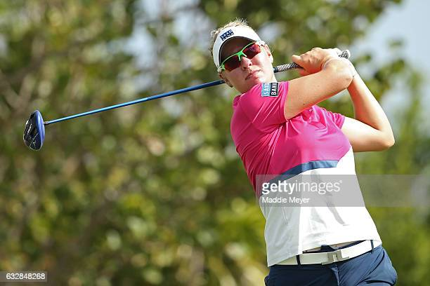 Nicole Broch Larsen of Denmark hits a tee shot on the fourth hole during round two of the Pure Silk Bahamas LPGA Classic on January 27 2017 in...
