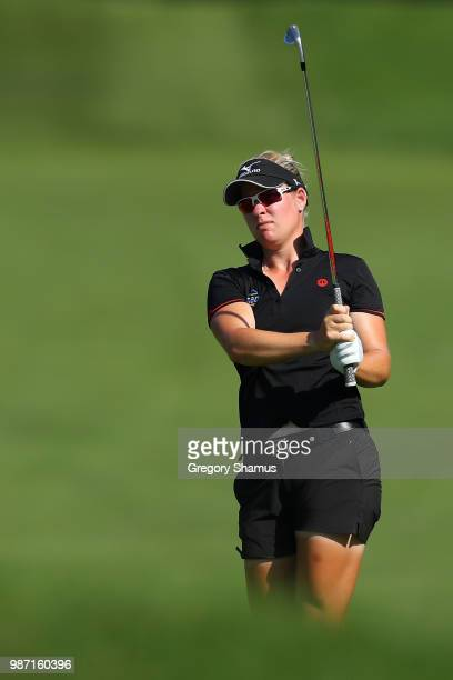 Nicole Broch Larsen of Denmark hits her second shot on the first hole during the second round of the 2018 KPMG PGA Championship at Kemper Lakes Golf...