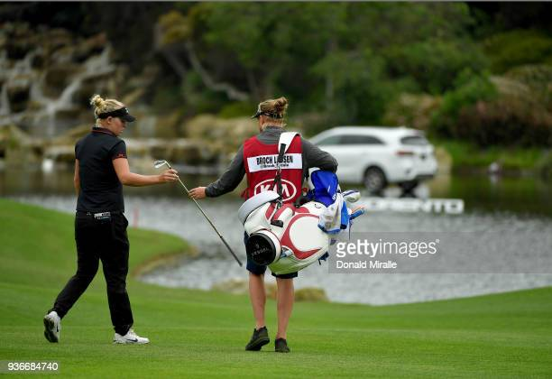 Nicole Broch Larsen of Denmark hits off the 18th fairway during Round One of the LPGA KIA CLASSIC at the Park Hyatt Aviara golf course on March 22...