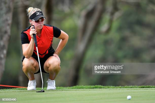 Nicole Broch Larsen of Denmark looks on green during the Honda LPGA Thailand at Siam Country Club on February 23 2018 in Chonburi Thailand